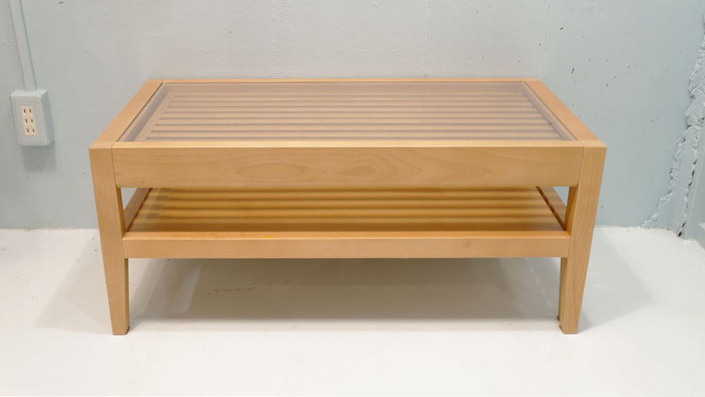 KEYUCA,ケユカ,Slide,Low Table,強化ガラス,スチール,リサイクルショップ,古一