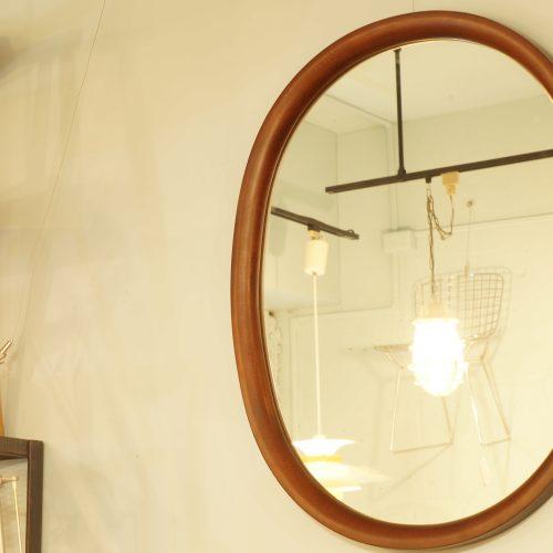 AKITA MOKKO wall mirror designed by Yanagi Sori/秋田木工 ウォールミラー 大判型 柳宗理デザイン 曲木 古代色 廃盤