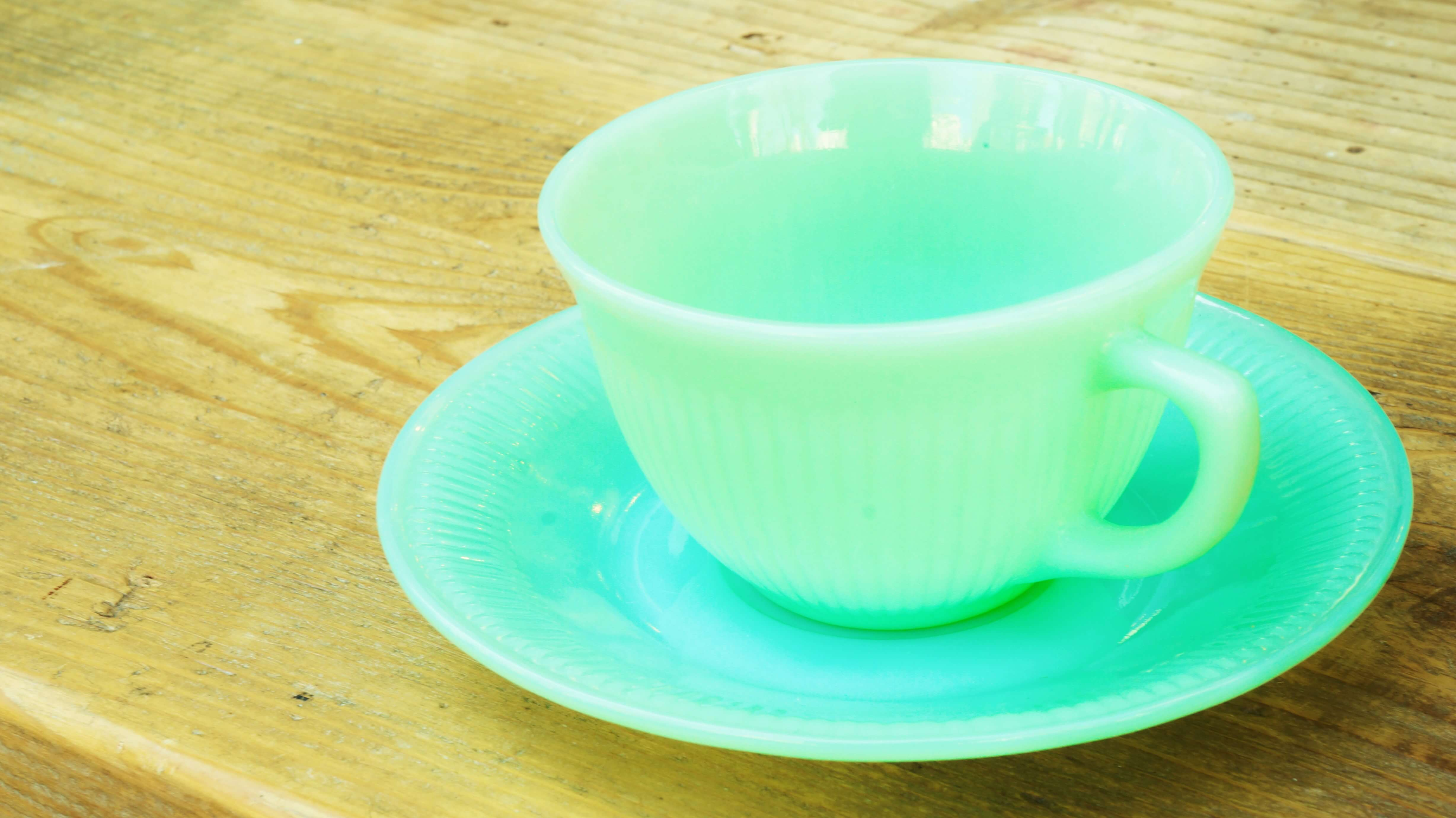 "fire-king ""Jane Ray"" Cup&Saucer Jade-ite/ファイヤーキング ジェーンレイ カップ&ソーサー ジェダイ"
