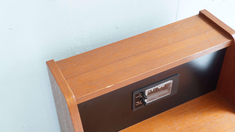 Teak Wood BED SIDE CABINET COPAL CLOCK / チーク材 ベッドサイドキャビネット コパル社製 パタパタ時計