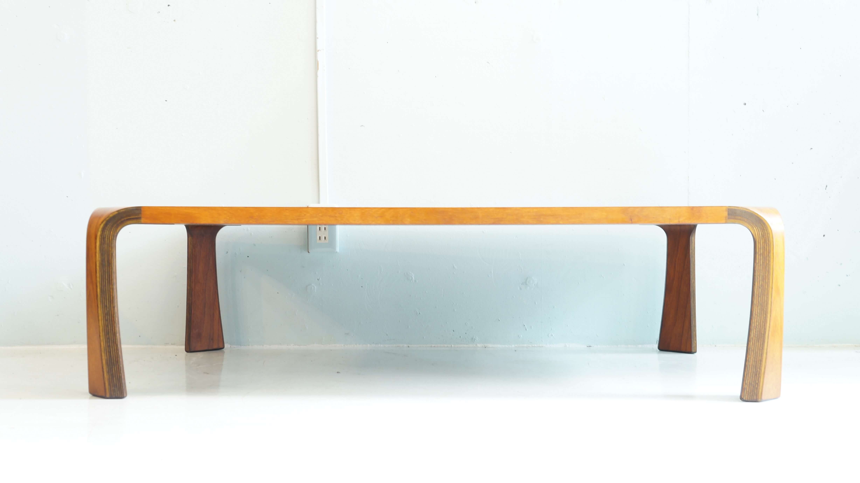 "TENDO MOKKO ROSE WOOD LOW TABLE ""ZATAKU"" DESIGN BY SABURO INUI /廃盤 天童木工 ローズウッド 座卓 センターテーブル 乾 三郎 デザイン"