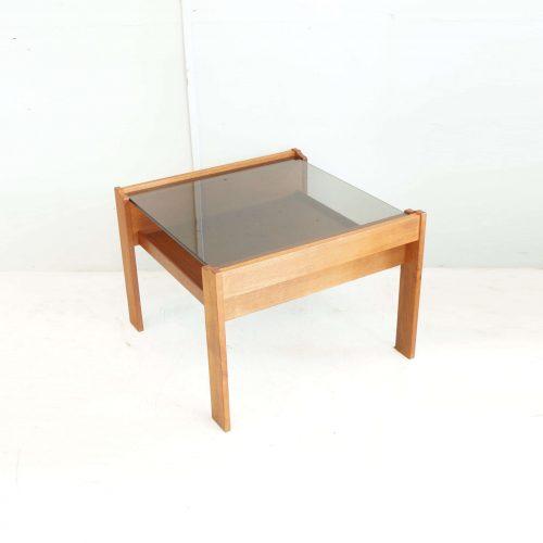 SMOKE GRASS TOP TEAK WOOD SIDE TABLE / チーク材 スモーク ガラス トップ サイド テーブル