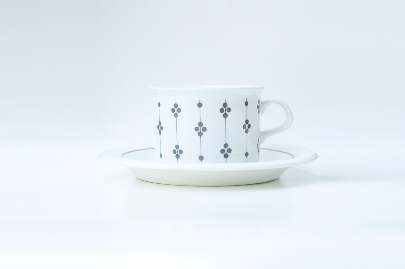 """1947年から1984年までARABIAのデザイナーとして活躍したエステリ・トムラが デコレートデザインを手がけた""""カルタノ""""シリーズのティーカップ&ソーサー。 """"カルタノ""""は1973~1976年というとても短い期間しか製造されていない、 現地でもなかなか出会えないようなシリーズです。 エステリ・トムラのデザインは細かな線で描かれた植物柄や色彩豊かな絵柄が 多いのですが、""""カルタノ""""は他の彼女の作品たちとはちょっと雰囲気が異なります。 カップはブラックのラインとドットのみ、ソーサーもブラウンのラインのみという とにかくシンプルなデザイン。 """"カルタノ""""とはフィンランド語で貴族の荘園・領地という意味を持ちますが、 このシンプルなデザインはエステリ・トムラのどのような想いが込められているのでしょうか。 落ち着いた雰囲気でありながら、上品で可愛らしく、シンプルなデザインは どんなシチュエーションでも自然と溶け込んでくれると思います。 リラックスしたいティータイムにこんなカップはいかがでしょうか♪ ~【東京都杉並区阿佐ヶ谷北アンティークショップ 古一/ZACK高円寺店】 古一/ふるいちでは出張無料買取も行っております。杉並区周辺はもちろん、世田谷区・目黒区・武蔵野市・新宿区等の東京近郊のお見積もりも!ビンテージ家具・インテリア雑貨・ランプ・USED品・ リサイクルなら古一/フルイチへ~"""