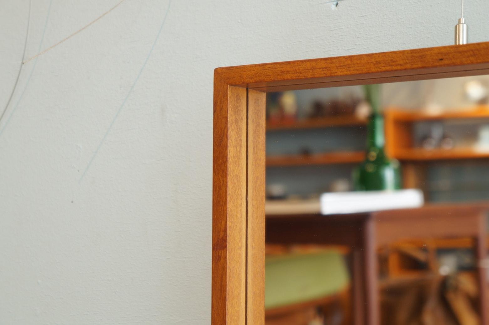 Danish Vintage Teak Wood Wall Mirror/デンマーク ヴィンテージ チーク材 ウォールミラー