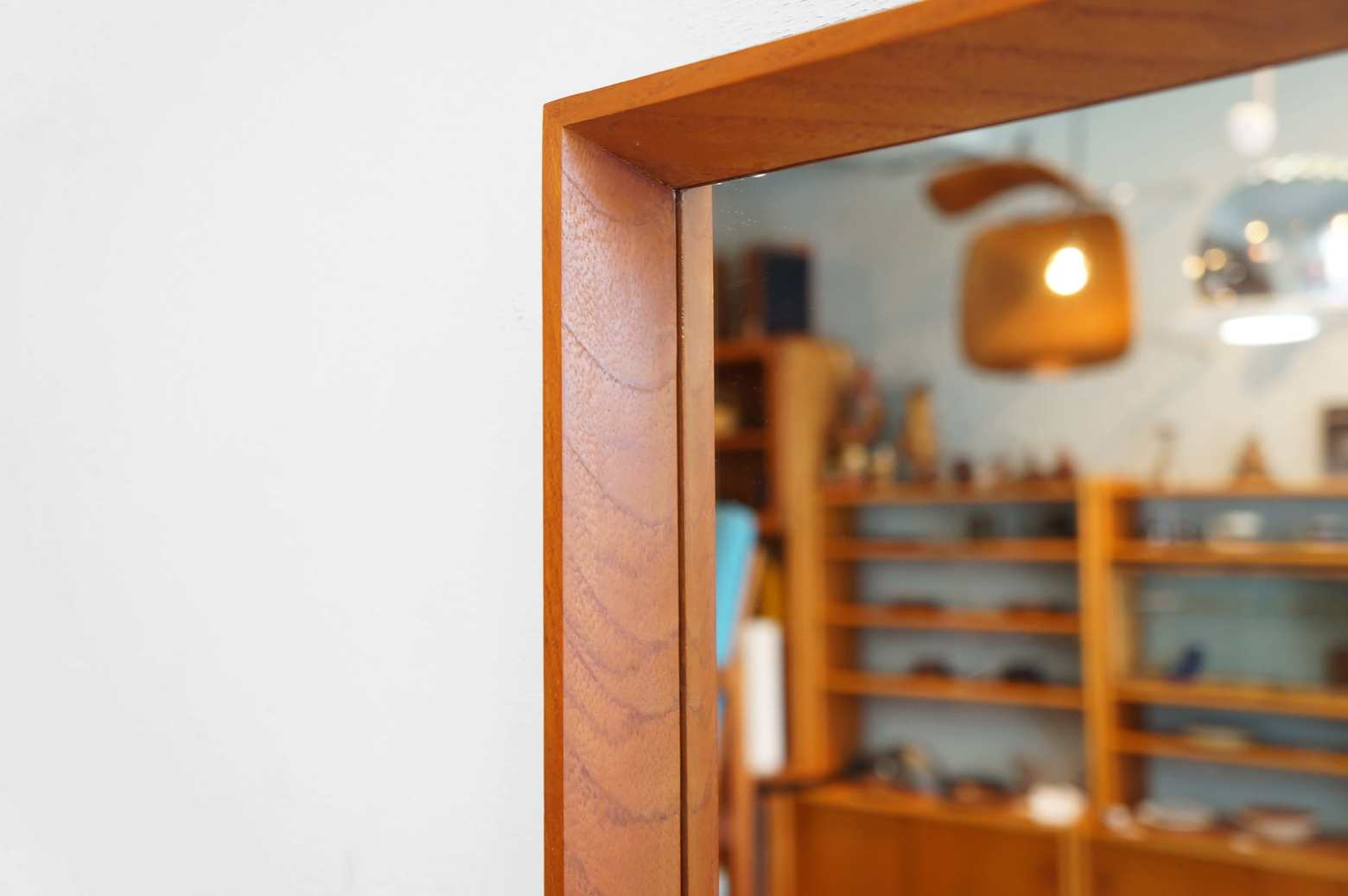 Danish Vintage Teakwood Frame Wall Mirror/デンマーク ヴィンテージ チークフレーム ウォールミラー