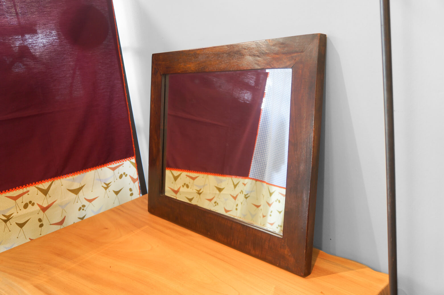 Antique Wood Flame Mirror/アンティーク ウッドフレーム ミラー