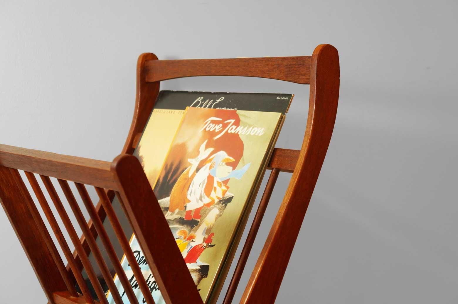 Danish Vintage Teakwood Folding Magazine Rack/デンマーク ヴィンテージ チーク材 折りたたみ マガジンラック