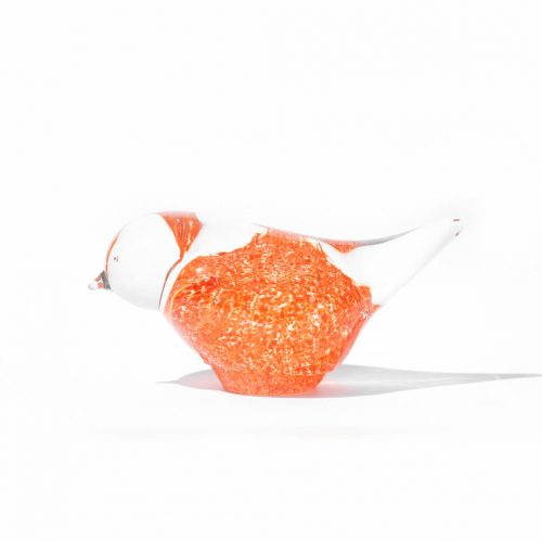 Randsfjord Glass Bird Object designed by Benny Motzfeldt/ランズフィオルド グラスベルグ ガラス 鳥のオブジェ ベンニー・モルツフェルト ノルウェー 北欧雑貨 オレンジ