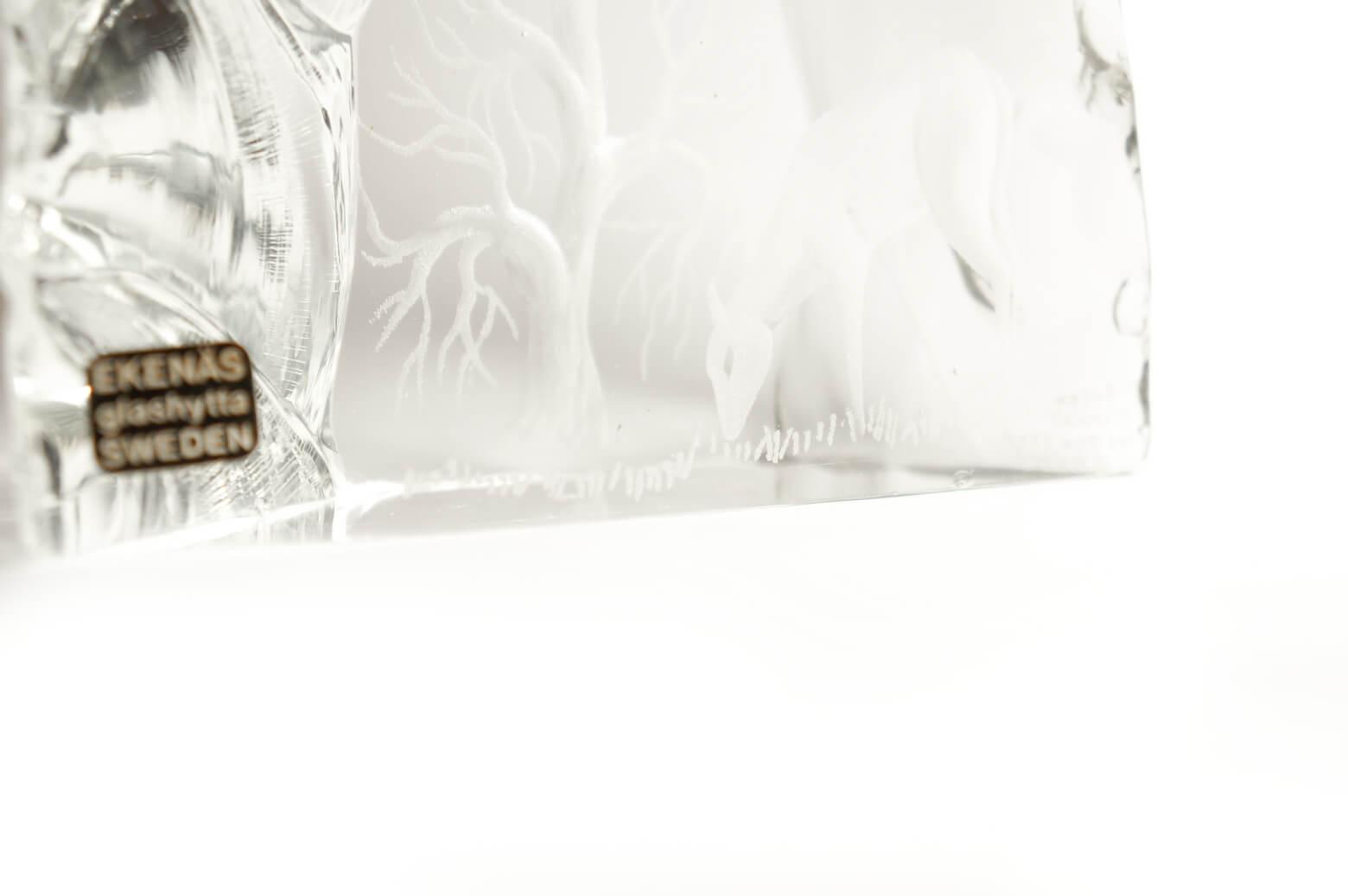 Ekenas Glashytta Glass Object Deer Tony Racov/ガラス オブジェ 鹿 スウェーデン 北欧雑貨 ヴィンテージ