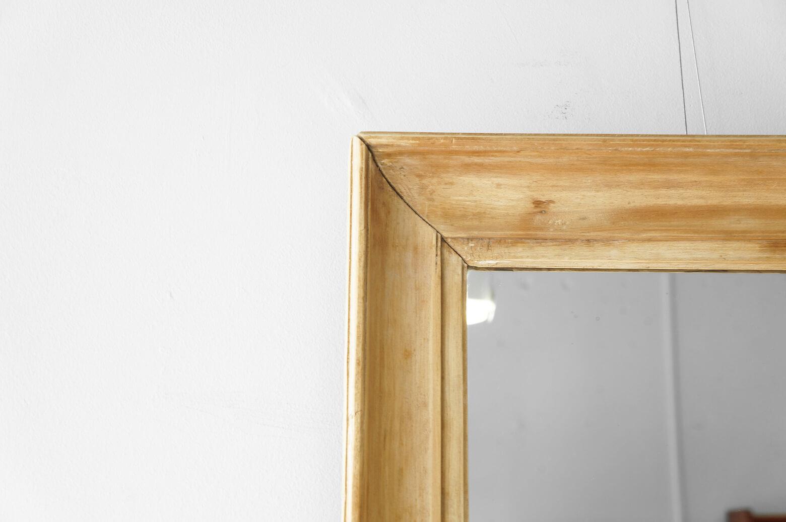 OLD PINE WOOD FLAME ANTIQUE WALL MIRROR LARGE / アンティーク ミラー パイン材 壁掛け 鏡 ラージ