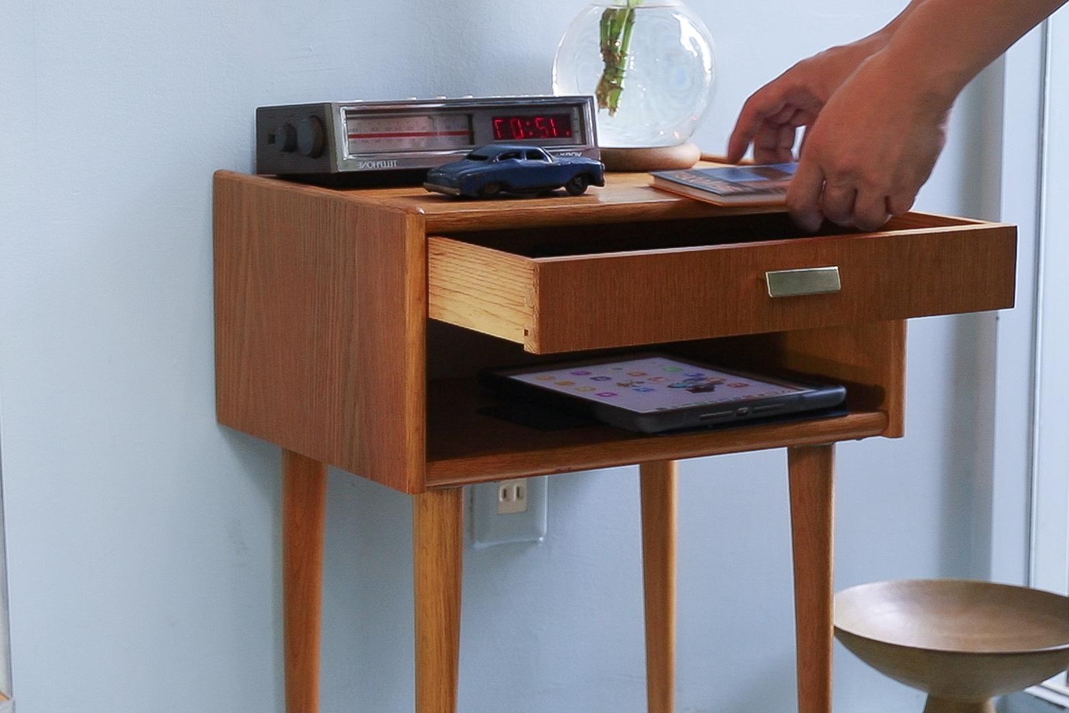 デンマーク ヴィンテージ ベッドサイド テーブル オーク材 北欧家具/Danish Vintage Bed Side Table