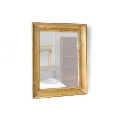 OLD PINE WOOD FLAME ANTIQUE WALL MIRROR LARGE / アンティーク ミラー パイン材 壁掛け 鏡 ラージ
