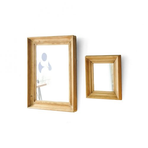 OLD PINE WOOD FLAME ANTIQUE WALL MIRROR / アンティーク ミラー パイン材 壁掛け 鏡