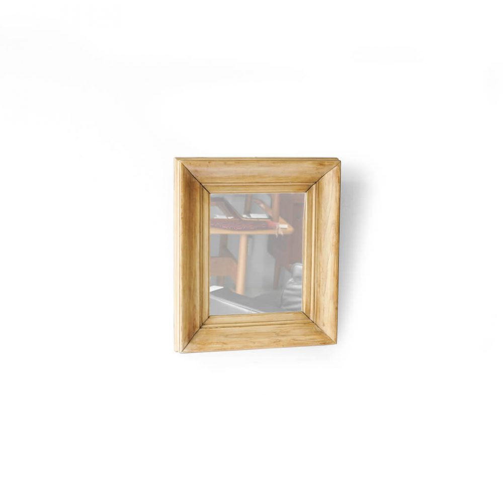 OLD PINE WOOD FLAME ANTIQUE WALL MIRROR SMALL / アンティーク ミラー パイン材 壁掛け 鏡 スモール