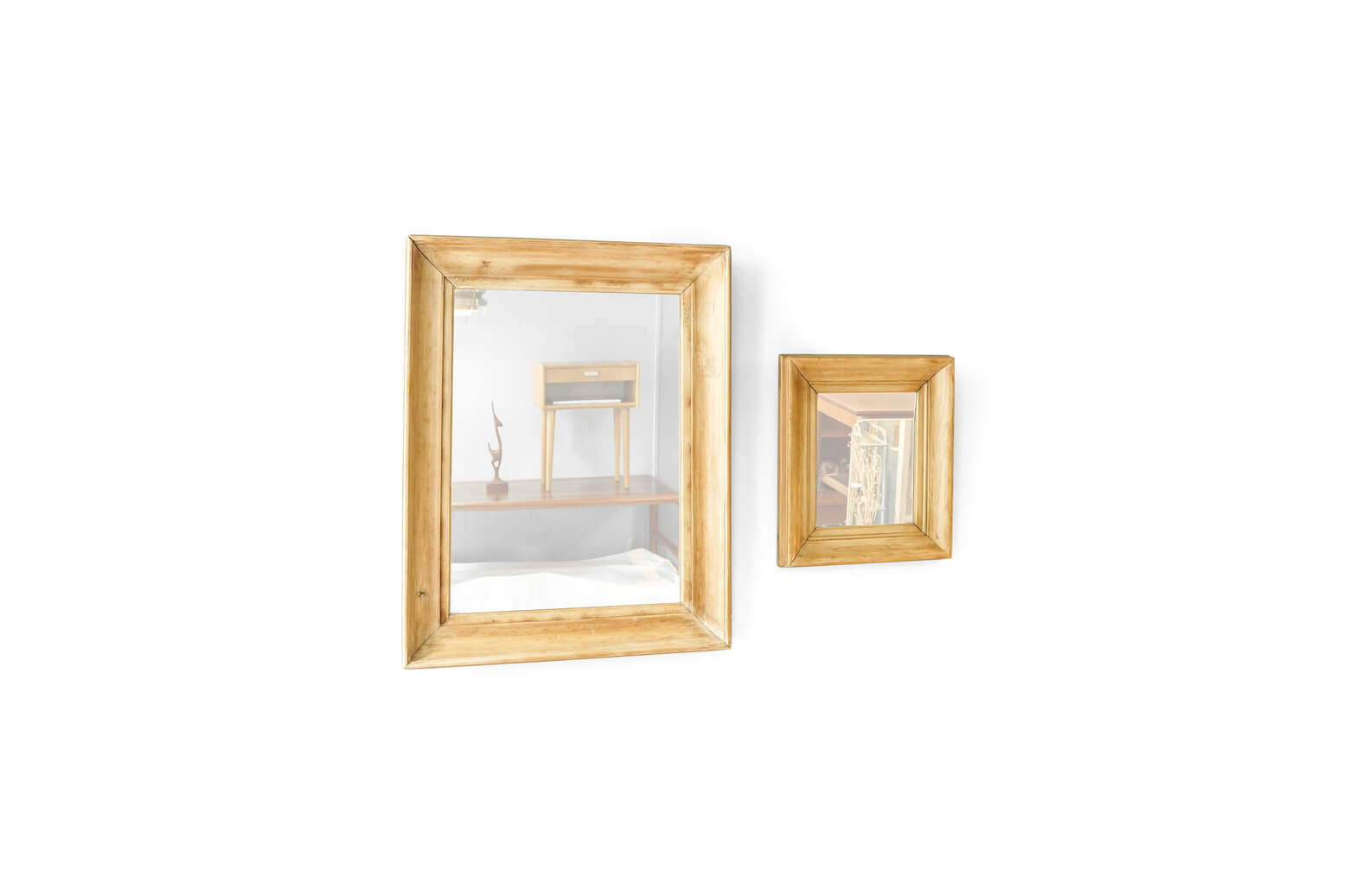OLD PINE WOOD FLAME ANTIQUE WALL MIRROR / アンティーク ミラー パイン材 壁掛け 鏡