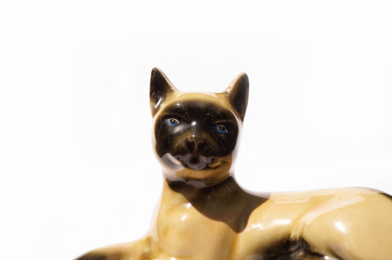 Brazilian Vintage Pottery Siamese Cat MCS/ブラジル ヴィンテージ シャムネコ 猫 置物 陶器
