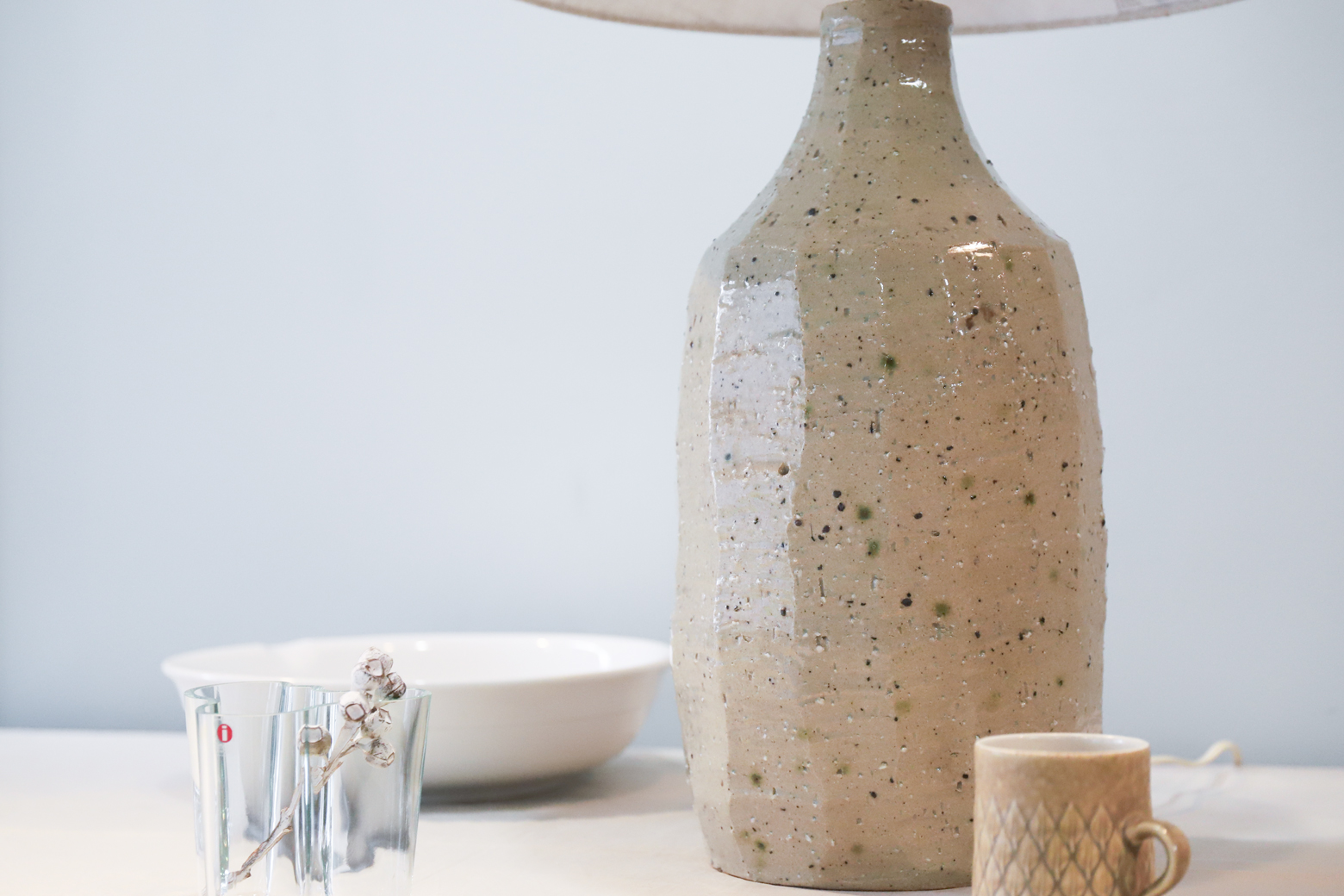 Nunobiki-Yaki pottery Table Lamp / モダン テーブルスタンドランプ 陶器 ヴィンテージ 布引