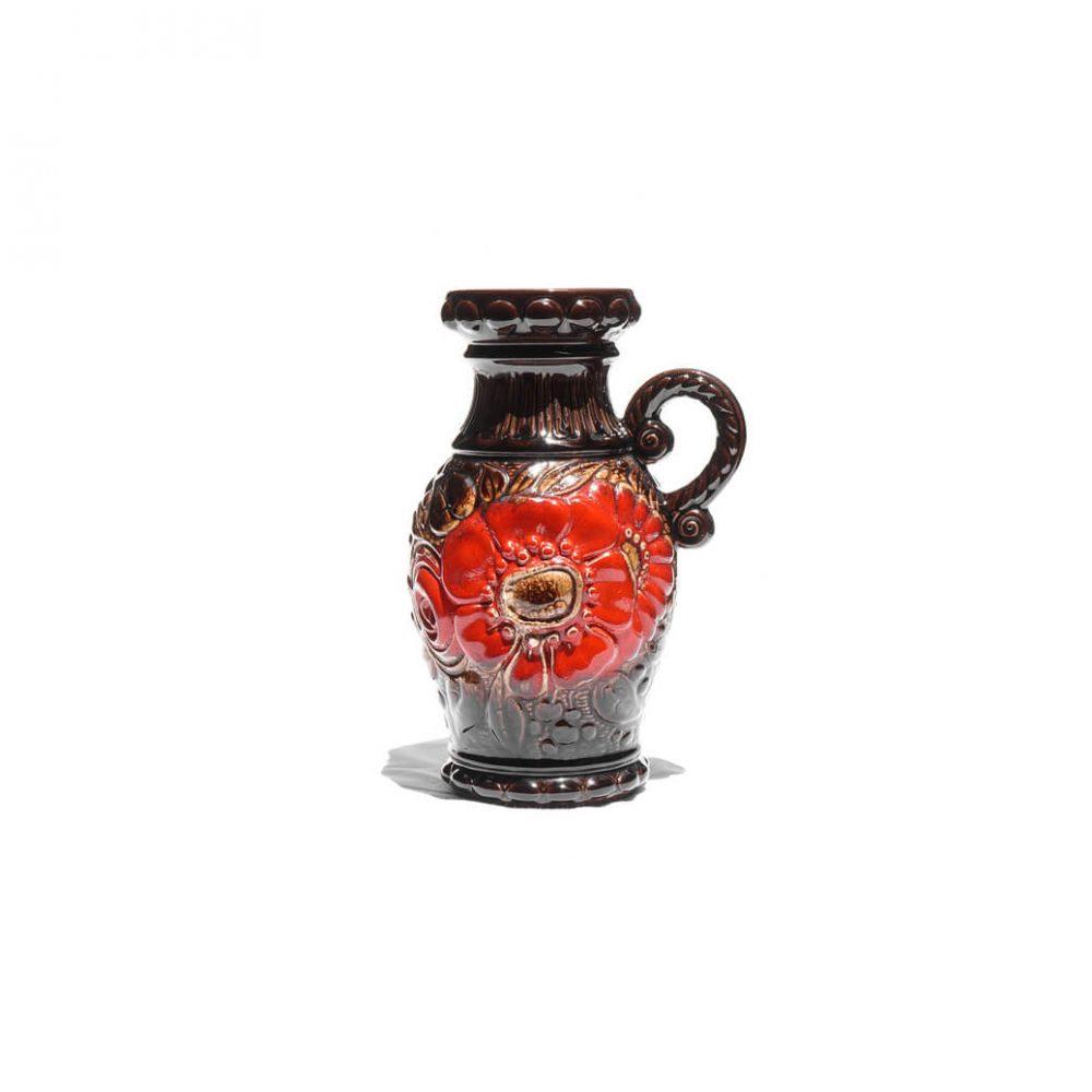 W.Germany Scheurich Vintage Pitcher Vase Fat Lava Red SunFlower/西ドイツ シューリッヒ ヴィンテージ ピッチャーベース ファットラヴァ 赤ひまわり