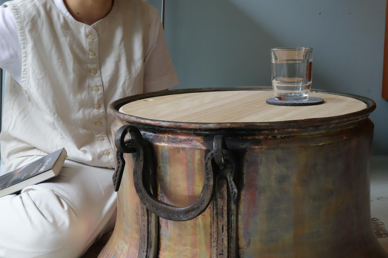 アンティーク 銅 釜 ポットカバー トルコ インテリア/Antique Copper Cauldron Pot