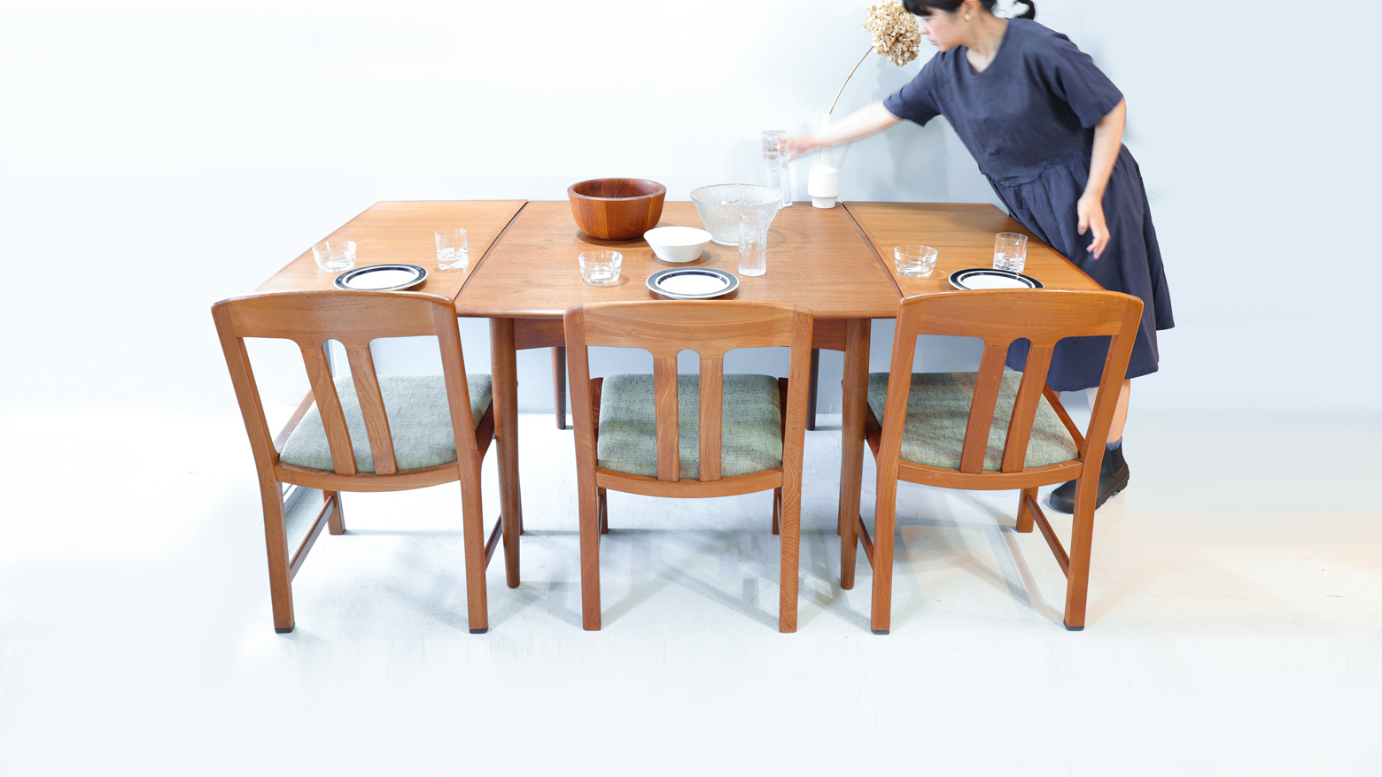 Danish Vintage Extending Dining Table/デンマーク ヴィンテージ エクステンション ダイニング テーブル 北欧家具
