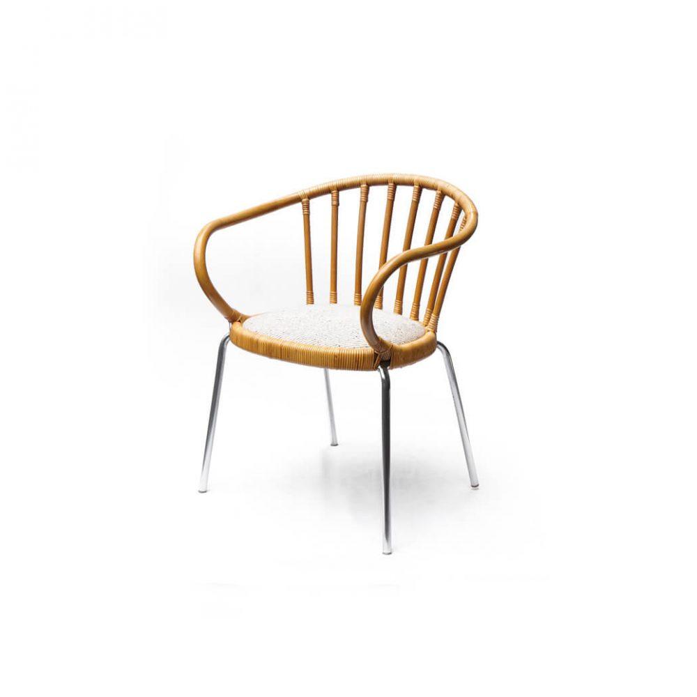 Rattan Steel Fabric Dining Chair/ラタン スチール ファブリック ダイニング ラウンジ チェア ナチュラル
