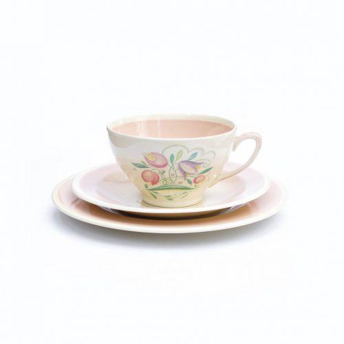 England Vintage Susie Cooper Dresden Spray Pink Tea Trio/イギリス スージークーパー ドレスデンスプレイ ピンク ティートリオ ヴィンテージ 食器