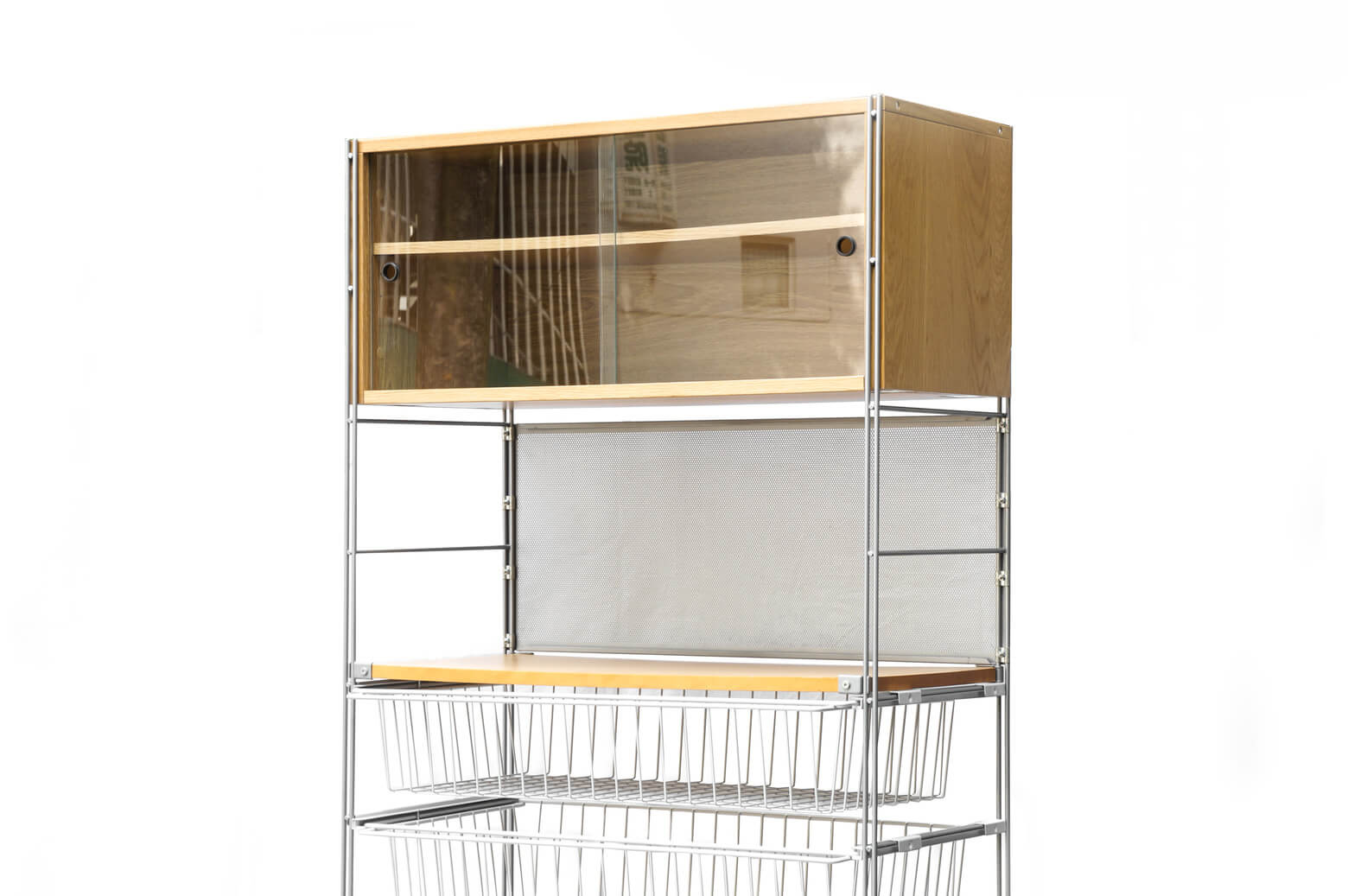MUJI Steel Unit Shelf/無印良品 スチール ユニットシェルフ 食器棚 オーク材