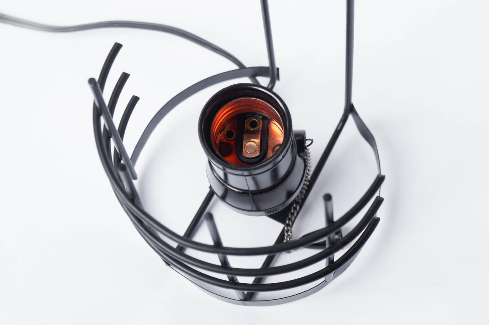 Vintage steel cage glass shade wall lamp / 壁掛け スチール フレーム ガラス シェード ウォール ランプ