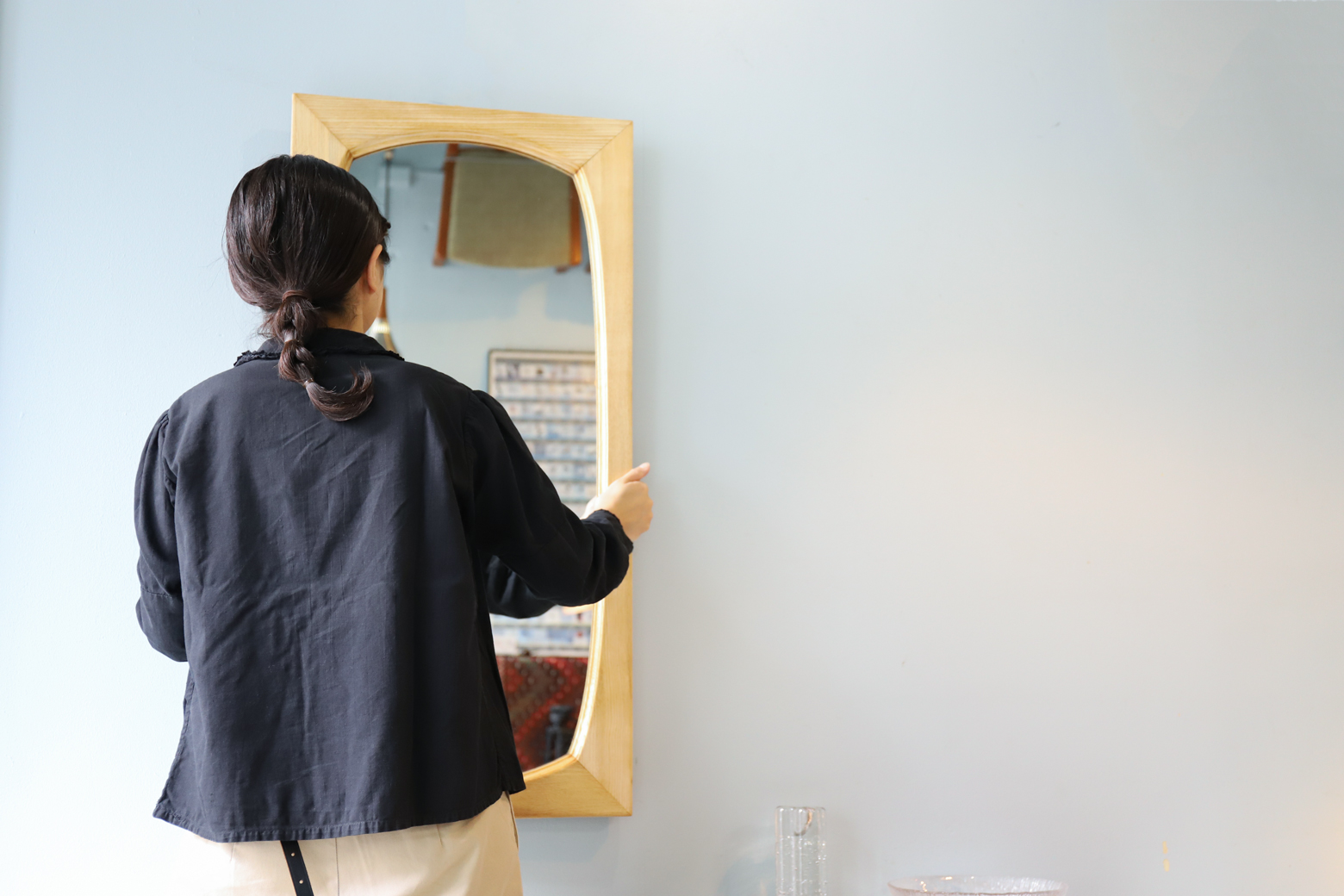 Oak Wood Frame Wall Mirror/オーク材 ウォールミラー 壁掛け 鏡 ナチュラルインテリア