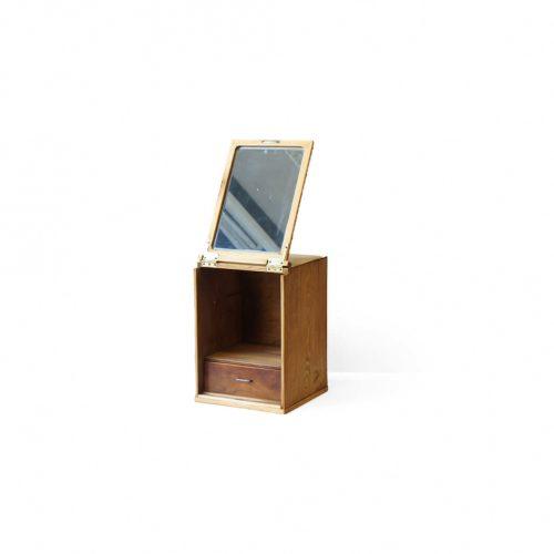 Japanese Retro Wooden Vanity Mirror Box/昭和レトロ 箱鏡 鏡台 化粧箱 ミラーボックス