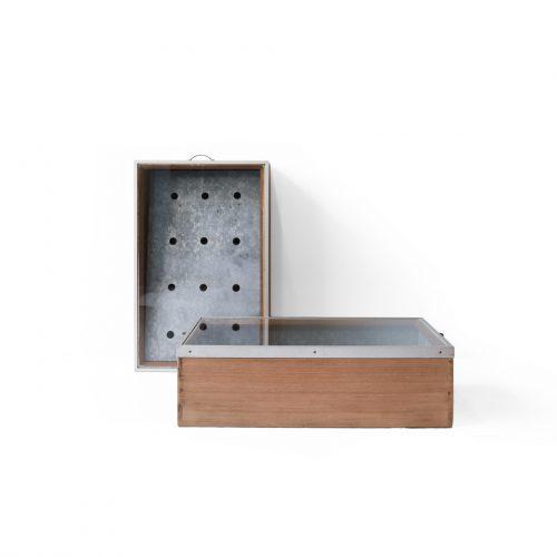 Retro Wooden Glass Tinplate Showcase/昭和レトロ 木箱 ショーケース ブリキ ボックス 古道具 ヴィンテージ