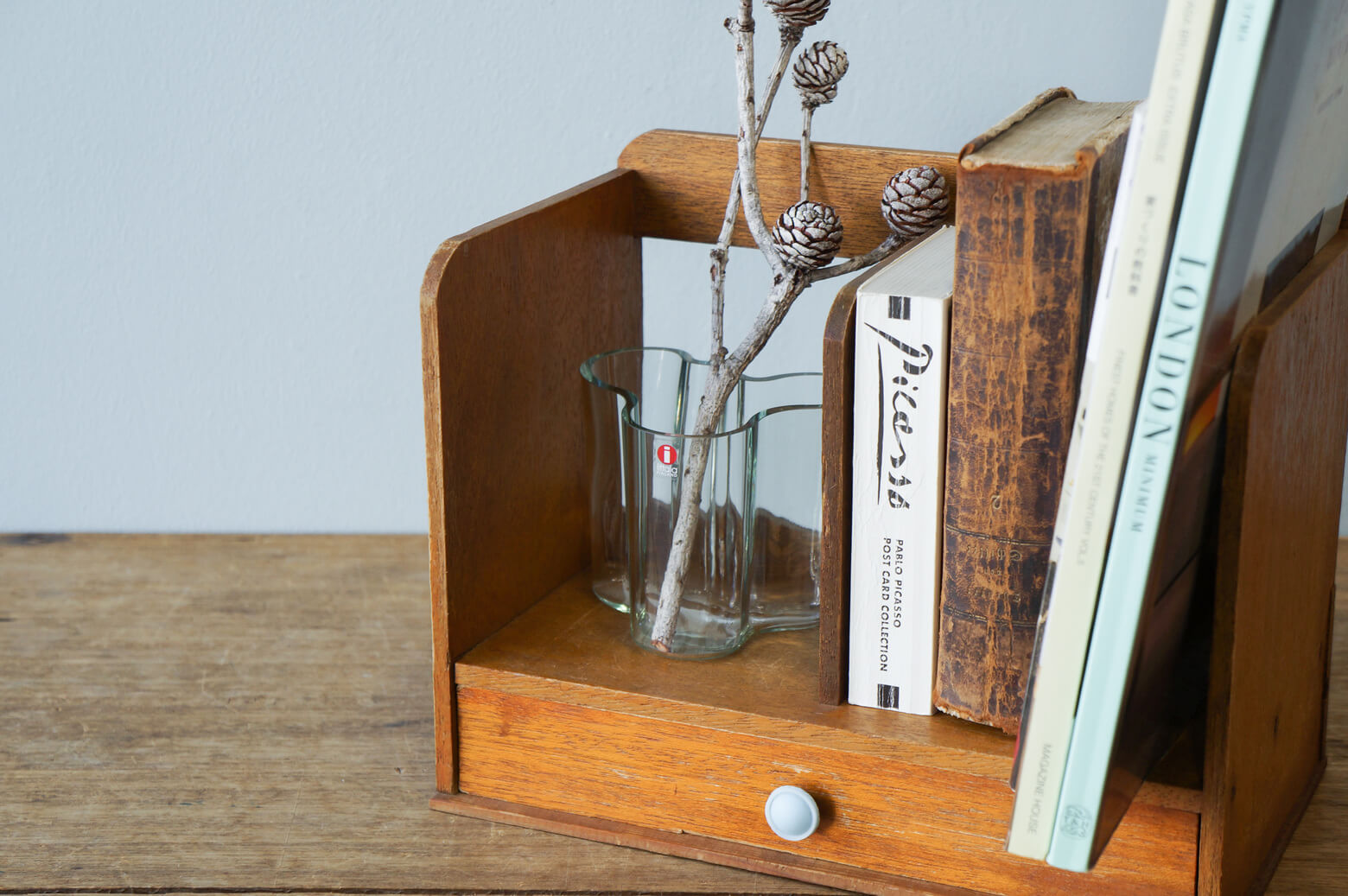 Japanese Retro Wooden Bookend/レトロ 木製 本立て ブックエンド ヴィンテージ