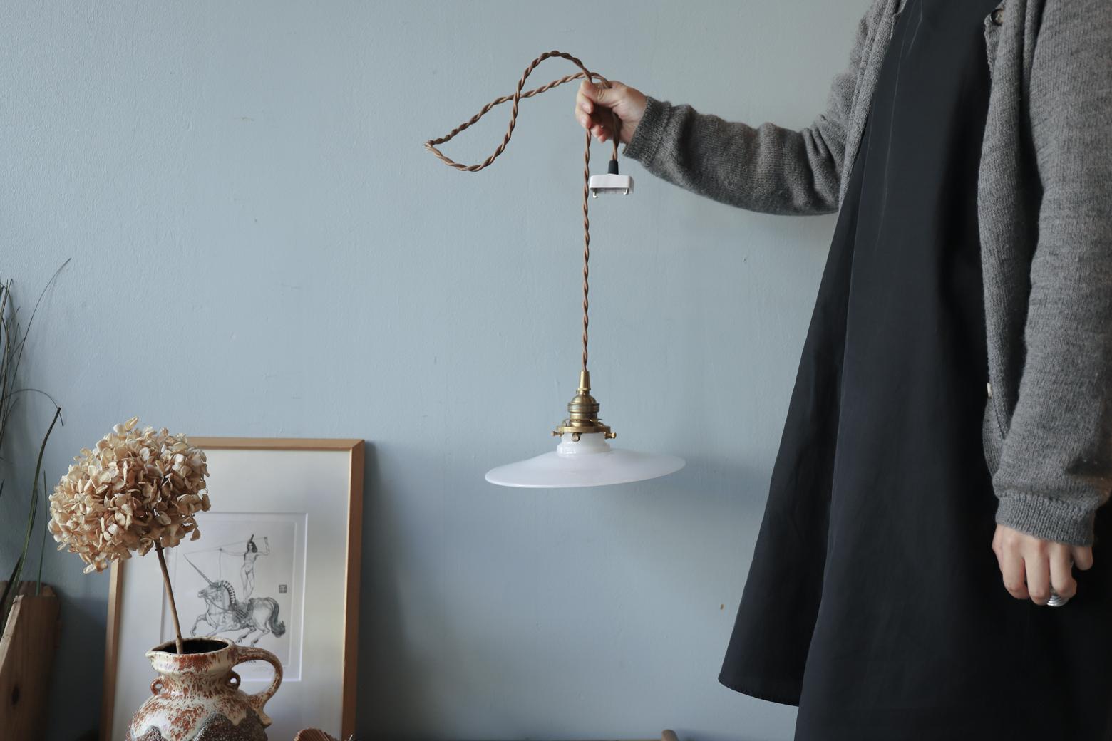 Antique Milk Glass Pendant Light/アンティーク ミルクガラス ペンダントライト ジャパニーズモダン レトロ