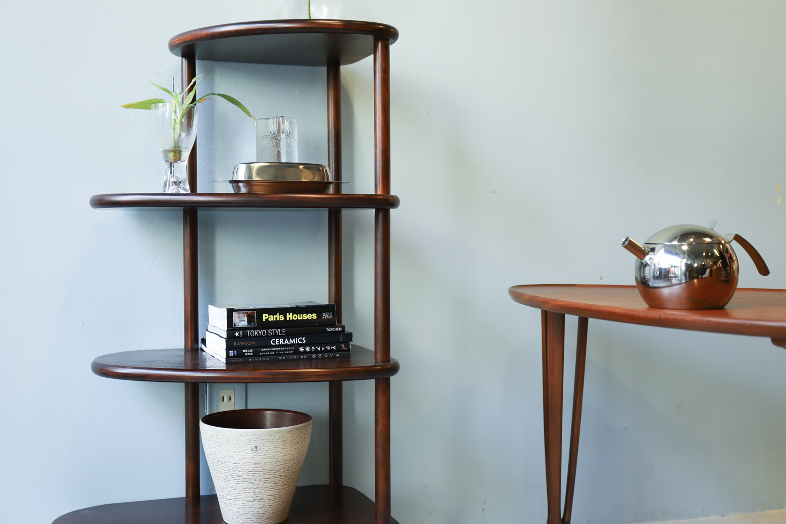 Retro Modern Wooden Corner Shelf/コーナーシェルフ ラック レトロ モダン 飾り棚