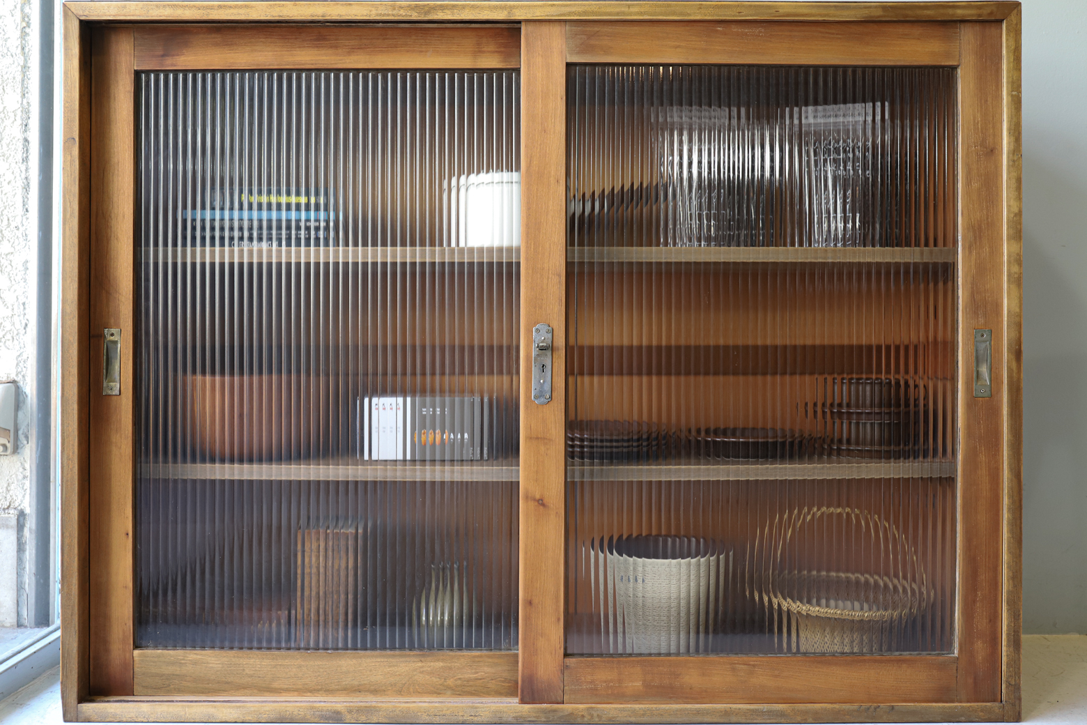 Antique Reeded Glass Case/アンティークモールガラス ケース 本棚 食器棚