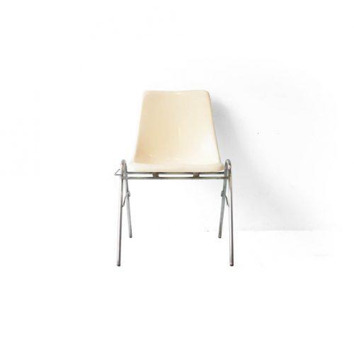KOTOBUKI Stacking Chair FRP Ivory/コトブキ スタッキングチェア レトロ ヴィンテージ アイボリー 2