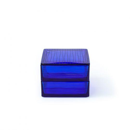 Kawakami Kyoichiro Bright Blue Glass Box/河上恭一郎 瑠璃色糸巻文 切子姫重 ガラス工芸