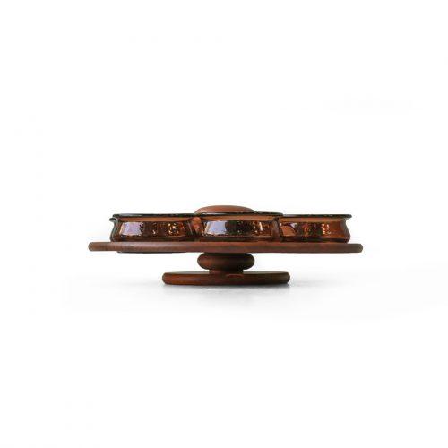 Scandinavian Vintage Lazy Susan Teakwood Tray Glass Bowl/北欧ヴィンテージ レイジースーザン 回転トレイ チーク材 ガラスボウル インテリア雑貨