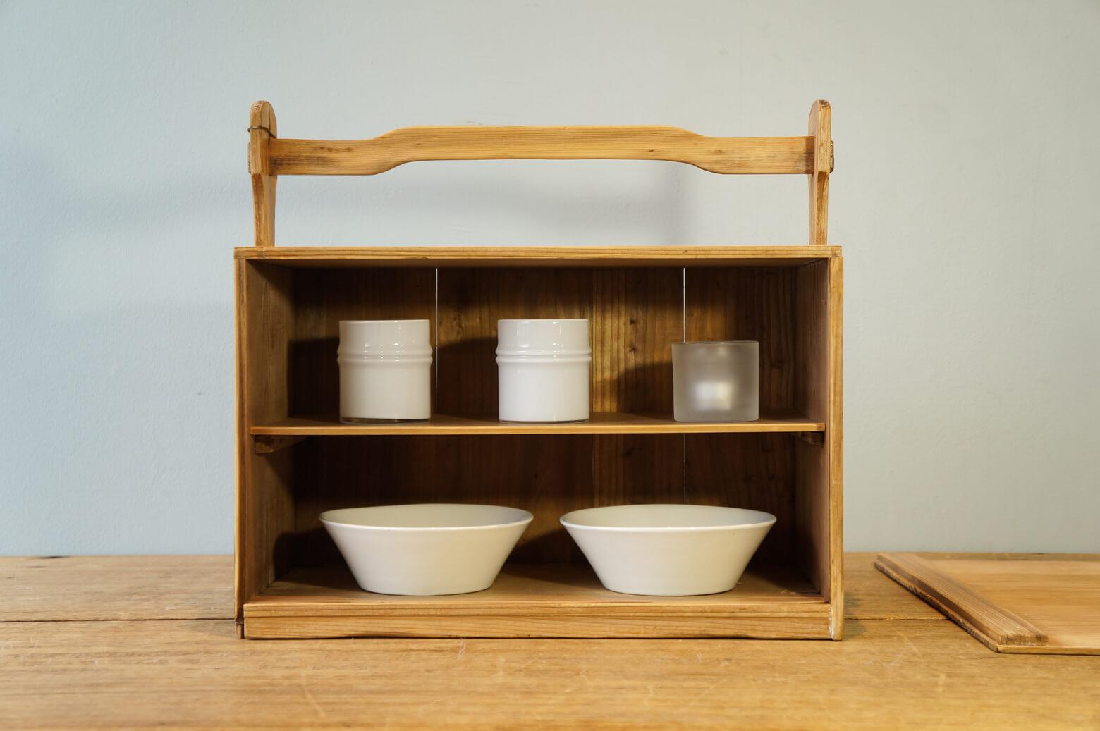 Japan Vintage Wooden Carrying Box OKAMOCHI/ジャパン ヴィンテージ おかもち レトロインテリア 1