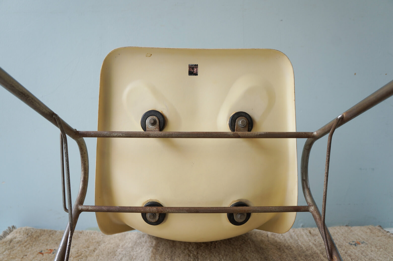 KOTOBUKI Stacking Chair FRP Ivory/コトブキ スタッキングチェア レトロ ヴィンテージ アイボリー 1