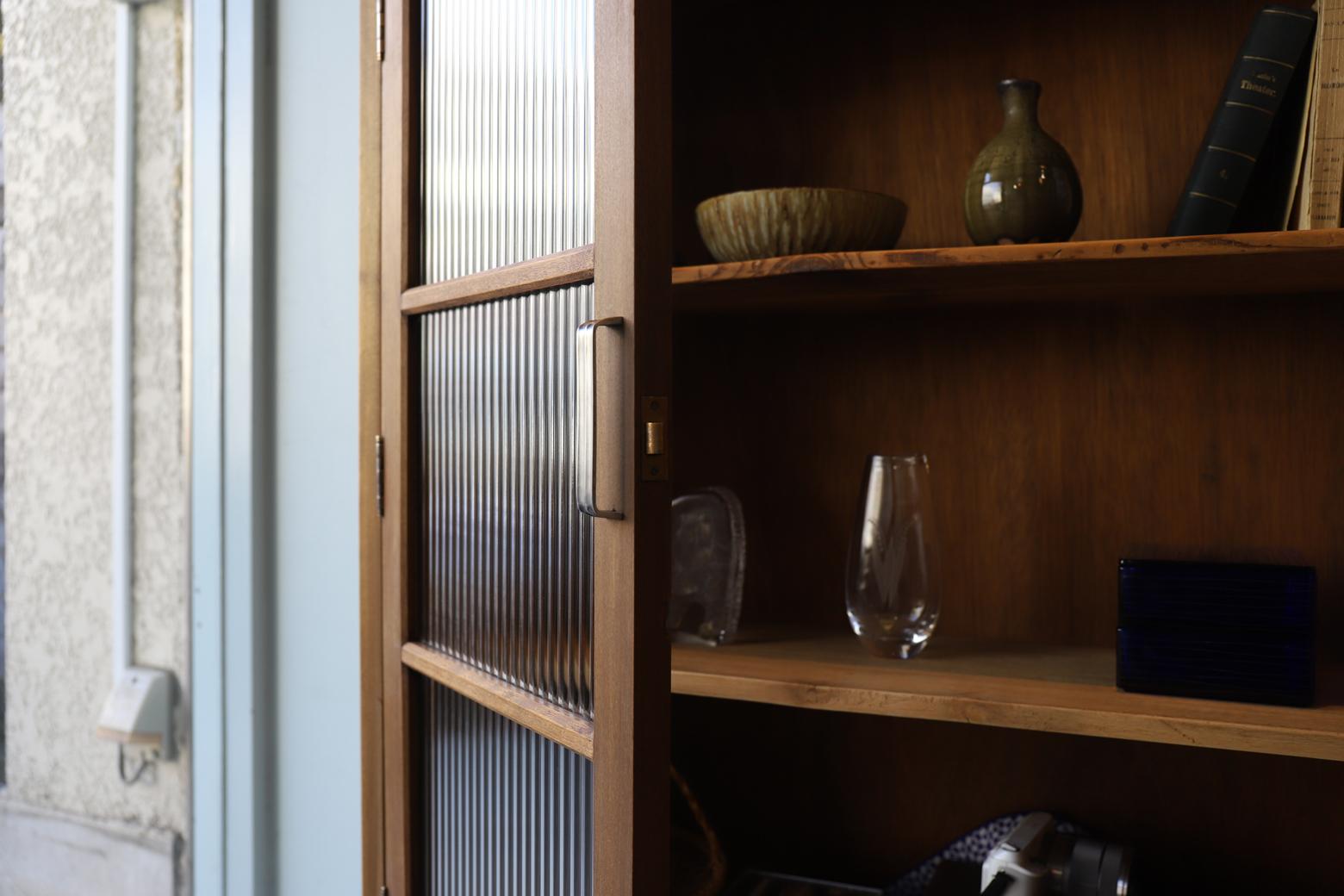 Antique Reeded Glass Cabinet Shelf/モールガラス キャビネット 本棚 食器棚 レトロ アンティーク 古道具