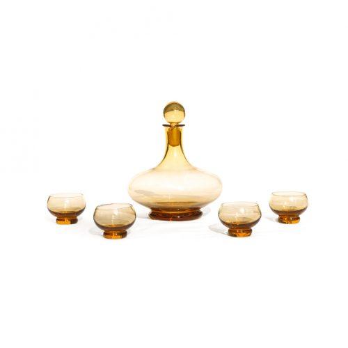 Italy Vintage Pee Dee Glass Decanter Shot Glass Set/イタリア ヴィンテージ ガラス デキャンタ ショットグラス セット ミッドセンチュリー レトロ