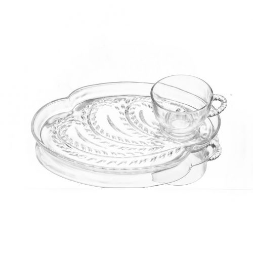Federal Glass Vintage Hospitality Snack Set/フェデラルガラス社 ヴィンテージ スナックセット カップ プレート 2