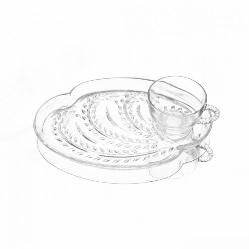 Federal Glass Vintage Hospitality Snack Set/フェデラルガラス社 ヴィンテージ スナックセット カップ プレート 4