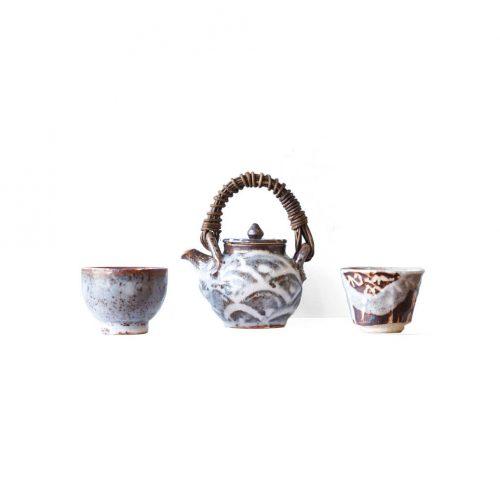 Oguri Masao Minoyaki Pottery Nezumi Shino/小栗正男 美濃焼 鼠志野 土瓶 湯呑 陶芸 焼物 作家物