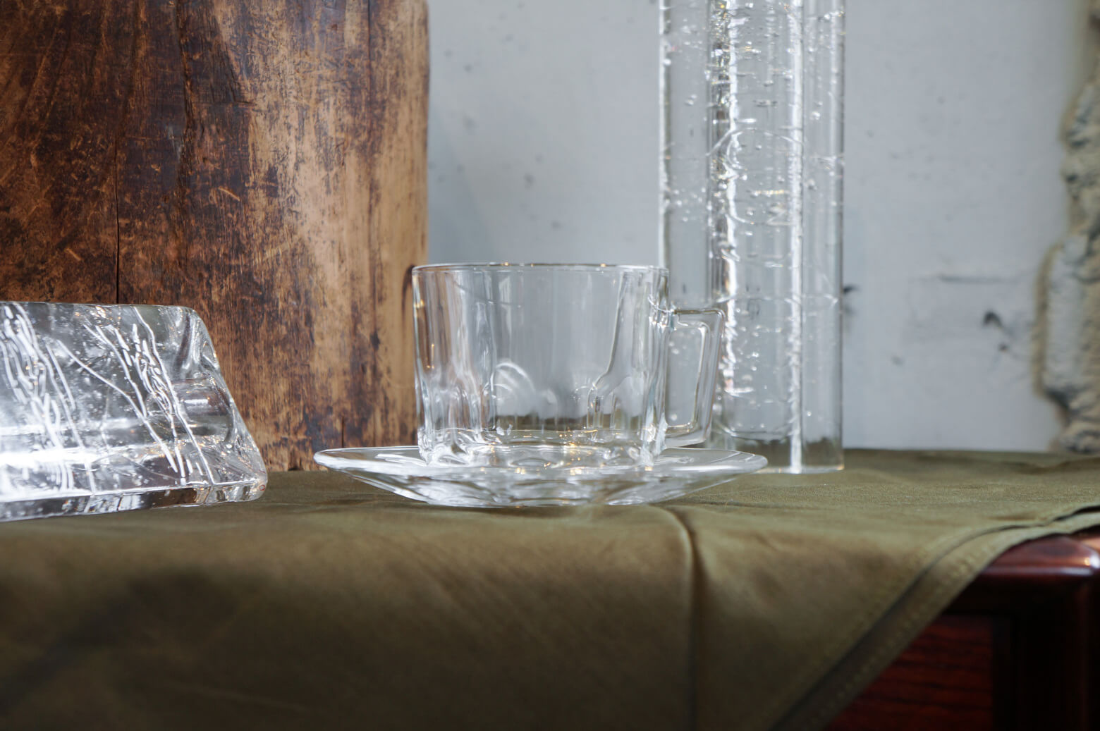 arcoroc Cup and Saucer Glass Ware Made In France/アルコロック カップ&ソーサー ガラス フランス製 食器 レトロ