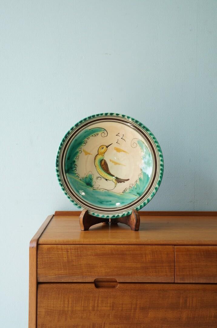 Spanish El Puente Del Arzobispo Pottery Wall Plate Bird/スペイン ウォールプレート ハンドペイント 陶器 絵皿 工芸品 鳥