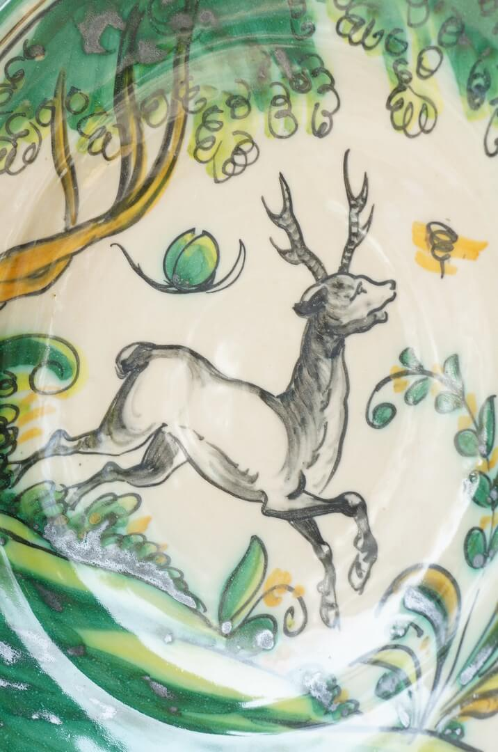 Spanish El Puente Del Arzobispo Pottery Wall Plate Deer/スペイン ウォールプレート ハンドペイント 陶器 絵皿 工芸品 鹿