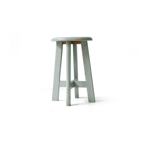 Vintage Round Atelier Stool Painted Gray/ヴィンテージ ラウンドアトリエスツール 丸椅子 グレーペイント シャビーシック 1