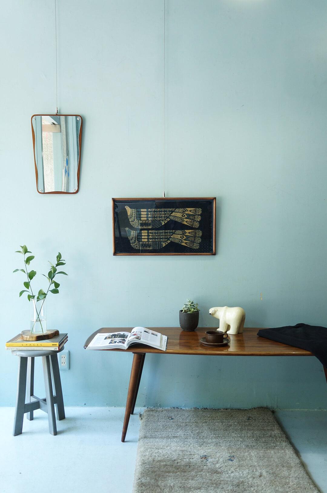 Swedish Vintage Blue Bird Tapestry Frame/スウェーデン ヴィンテージ タペストリー 青い鳥 壁掛け 額 リネン ハンドプリント 北欧雑貨